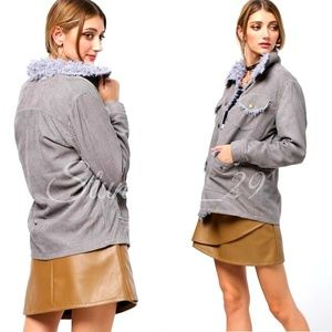 🆕️GRAY FUR TRIM CORDUROY  POCKET COAT